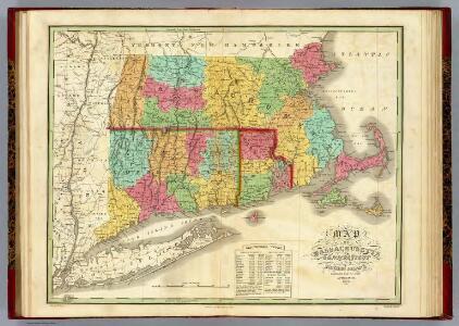 Map of Massachusetts Connecticut And Rhode Island.