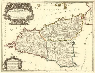 La Sicile divisée en ses trois Provinces ou Valées sçavoir Valle di Demona, Valle di Noto, et Valle di Mazara.