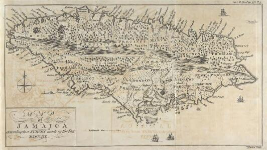 Map Of Jamaica According To A Survey Made In The Year 1670