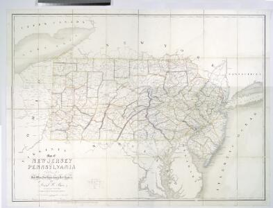 Map of New Jersey and Pennsylvania : exhibiting the post offices, post roads, canals, rail roads, &c. / by David H. Burr (late topographer to the Post Office), geographer to the House of Representatives of the U.S.