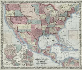 Johnson's new illustrated & embellished county map of the republics of North America : with the adjacent islands & countries / compiled, drawn & engraved from U. States land & coast surveys, British Admiralty & other reliable sources by D. Griffing Johns