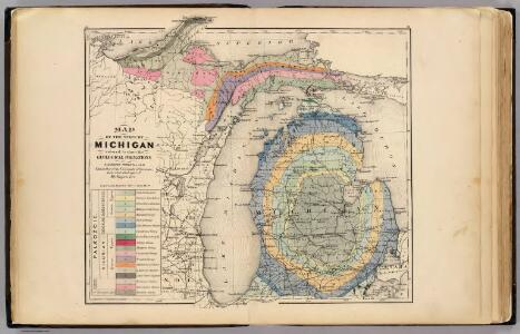 Map of the State of Michigan colored to show the geological formations.