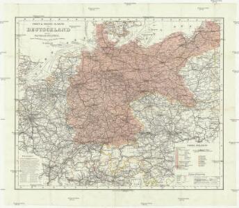 Post- & Reise- Karte von Deutschland und den nachbar Staaten