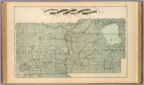 Map of Todd, Morrison, Crow Wing counties; parts of Mille Lacs, Aitkin & Cass.