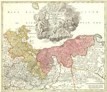 Ducatus Pomeraniae novißima Tabula in anteriorem et interiorem divisa, quatenus subsunt Coronis Sueciae Et Borussiae cum insertis et adiacentibus Ditionibus