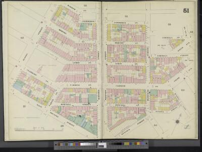 Manhattan, V. 3, Double Page Plate No. 51 [Map bounded by Commerce St., 6th Ave., Hancock St., W. Houston St., Hudson St.]