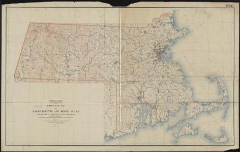 Topographic map of Massachusetts and Rhode Island