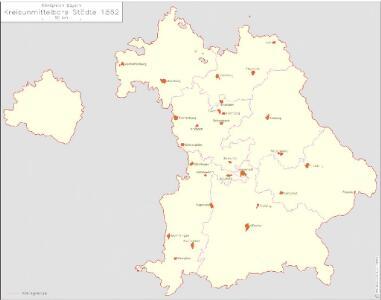 Königreich Bayern Kreisunmittelbare Städte 1862