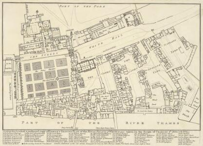 A reduced copy of FISHER'S GROUND PLAN of the ROYAL PALACE of WHITEHALL, taken in the Reign of CHARLES 2d 1680.