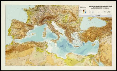 Mapa de la Conca Mediterrània: principals infrastructures de transport : regions europees riberenques de la Mediterrània