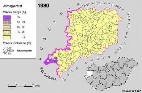 A szlovének arány és száma Vas megyében 1980-ban