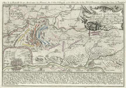 Plan der Bataille welche am 13. April 1759 bey Franckfurth zwischen Bergen und Fibel unter denen Französischen Trouppen des Herzogs von Broglio und der Armée des Herzogs Ferdinand von Braunschweig vorgefallen ist