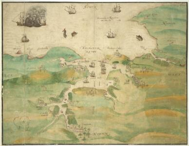 A coloured chart of Falmouth Haven and the river Fal up to Truro; drawn 1590-1600