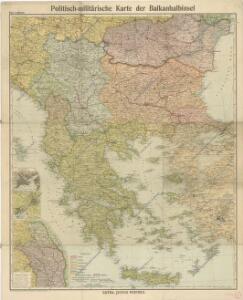 Politisch - militärische Karte der Balkanhalbinsel