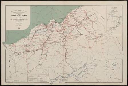 Département d'Oran. Carte des voies de communication