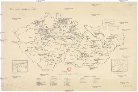 Mapa jednot sokolských z r. 1901
