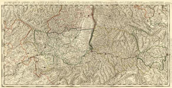 La Haute Alsace Divisée en Balliages et Seigneuries tant de ca que de la Rhin ou sont le Suntgaw le Breisgaw les quatre Villes Forestieres les Montagnes Noires Meridionales de la Souabe et des Suisses levé sur les lieuex pendatles Guerres.