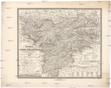Reise-Karte von Tyrol u. Vorarlberg mit den angränzenden Ländertheilen