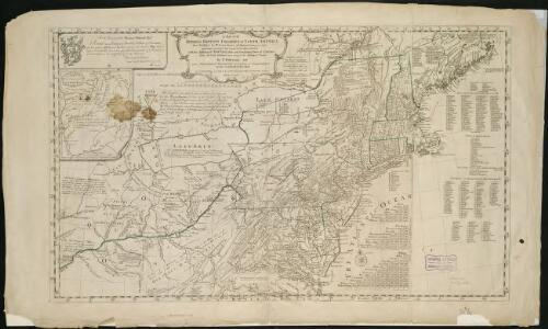 A map of the middle British colonies in North America, first published by Mr. Lewis Evans, of Philadelphia, in 1755; and since corrected and improved, as also extended, with the addition of New England, and bordering parts of Canada ...