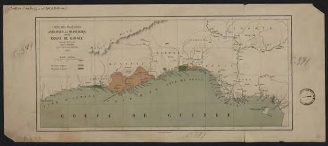 Carte des possessions anglaises et françaises sur le Golfe de Guinée