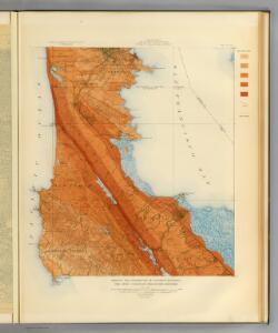 San Mateo quadrangle showing intensity, faults.