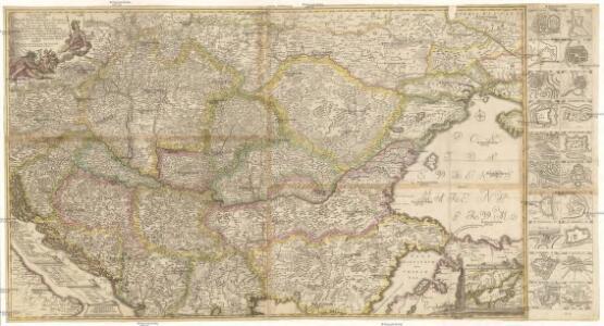 Accurate Landkarte die Königreiche Ober- und Nieder- Hungarn, Slavonien, Croatien, Dalmatien, Bosnien, Servien, Bulgarien und Romanien, das Gross Fürstenthum Siebenbürgen, die Fürstenthümer Moldau, Wallachen, Bessarabien, die Oczakowisch- und Crimische Tartaren, die Pohlnische Provinz Podolien, wie auch ein Theil von Ukranien, und übrige angränzende Ländere vorstellend