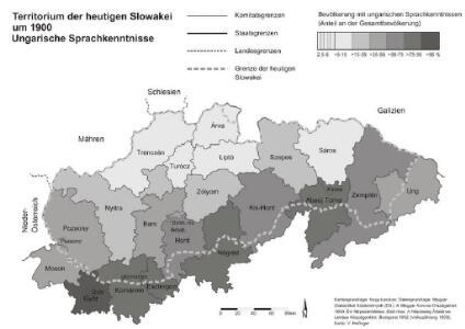 Territorium der heutigen Slowakei um 1900. Ungarische Sprachkenntnisse