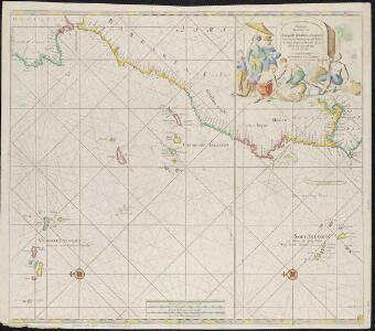 Paskaart van de cust van Portugal, Barbaria en Genehoa, beginnende van d'Barlenges tot aan C. Verde met al zyn Diepte en Drooghte dus ver Naaukeurig opgesocht door Ervaren Stuurlieden