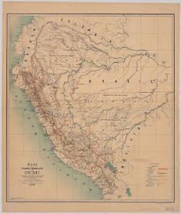Mapa de los ferrocarriles del Peru : de sus principales vias de comunicación terrestres, fluviales y maritimas, y de la futura red ferroviaria según los proyectos formulados con indicación de los vias interfluviales llamadas varaderos