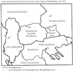 Internationale und nationale Grenzen in der Provinz Makedonien seit 1944