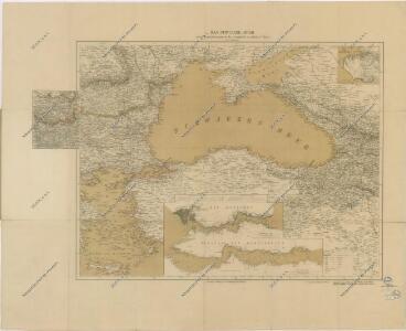General Karte des Schwarzen Meeres mit den Karten des Bosporus und der Dardanellenstrasse