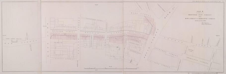 PLAN B. PROPOSED NEW STREET from BOW STREET TO CHARLOTTE STREET. As Revised June 1840