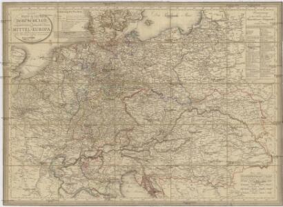 Neueste Post-Karte von Deutschland und demgrösten Theil der umliegenden Staaten oder Mitter-Europa