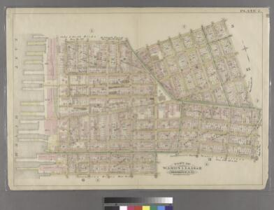 Plate 2: Bounded by Clark Street, Fulton Street, Tillary Street, Gold Street, Fulton Street, Bond Street, Atlantic Avenue, Court Street,Amity Street, Columbia Street, Atlantic Avenue and (East River Piers), Furman Street.