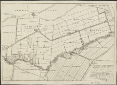 ['t Ambacht van Hillegersberg, 't Ambacht van Bleyswijk, Eendragts Droogmakery, Twee Mans Polder] : ... na de metingen, en gedaane opgaven van C. Beket en C. Swieb. Actum Rotterdam 1770. D. Smits,.