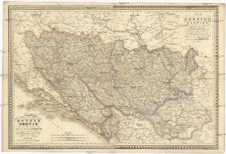 Karte von Servien, Bosnien, Türkish Croatien der Herzegovina und dem Lande der Montenegriner