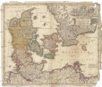 Regni Daniae in quo sunt ducatus Holsatia et Slesvicum insulae Danicae provinciae Iutia Scania Blekingia nova tabula