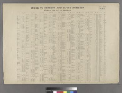 Index to Streets and House Numbers. Atlas of the city of Brooklyn. [Aberdeen Street - 59th Street.]