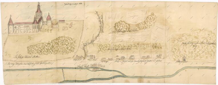 Situační plán zámku Hluboká n. Vltavou a okolí, nejstarší uložená mapa 1