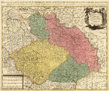 Estats de la Couronne de Boheme, ou sont le Royaume de Boheme, le Duché de Silesie, les Marquisats de Moraviae, et Lusace. Subdivisés en leurs Principales Parties