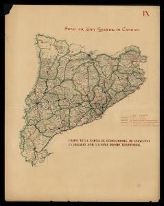 Gràfic de la xarxa de ferrocarrils de Catalunya en relació amb la nova divisó territorial