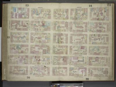 [Plate 25: Map bounded by Bowery, Rivington Street,   Ludlow Street, Canal Street; Including Chrystie Street, Forsyth Street, Eldridge Street, Allen Street, Orchard Street, Hester Street, Grand Street, Broome        Street, Delancy Street]