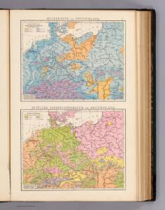 Regenkarte, Mittlere Jahrestemperatur v. Deutschland.