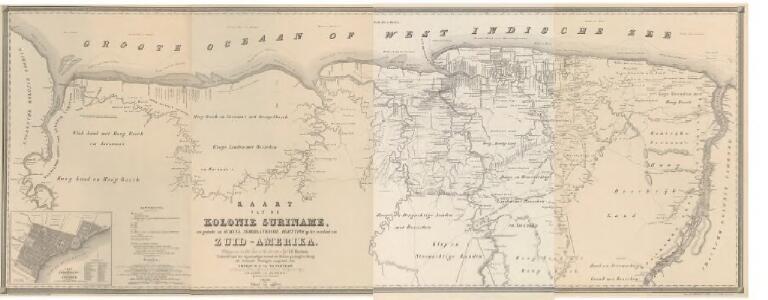 Kaart van de kolonie Suriname, een gedeelte van Guijana, Nederlandsche bezitting op het vasteland van Zuid-Amerika