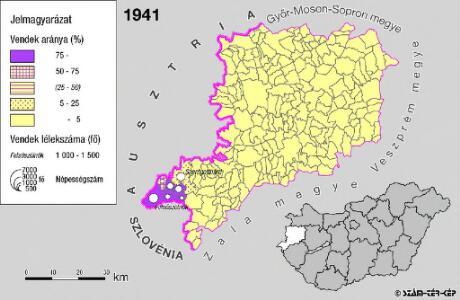 A szlovének arány és száma Vas megyében 1941-ben