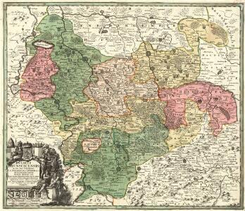 Ducatus Brunsuicensis in tres suos Principatus Calenbergicum sc. Grubenhag & Guelpherbitanum distincte divisi, nec non Episcopatus Hildesiensis, Pr. Halber. Comitatus Schauenburgici, aliorumq; confiniorum exacta Tabula