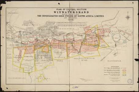 Plan of Central section of the Witwatersrand. shewing properties in wich the consolidated gold fields of South Africa, Limited are interested