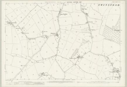 Essex (1st Ed/Rev 1862-96) XII.14 (includes: Pebmarsh; Twinstead; Wickham St Paul) - 25 Inch Map
