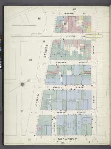 Manhattan, V. 1, Plate No. 21 south half [Map bounded by Thompson St., Grand St., Broadway, Canal St.]