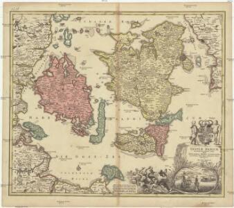 Insvlae Danicae in Mari Balthico sitae utpote Zeelandia, Fionia, Langelandia, Lalandia, Falstria, Fembria Mona repraesentatae